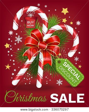 Christmas Sale Promotion Poster With Traditional Lollipop Candy Sticks. Advertisement Of Clearance I
