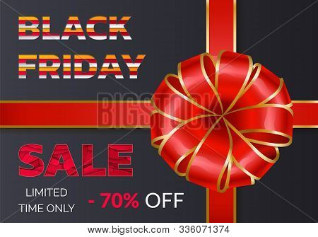 Black Friday Discounts And Sale For Autumn Event. 70 Percent Off Price, Buy Now. Promotional Poster
