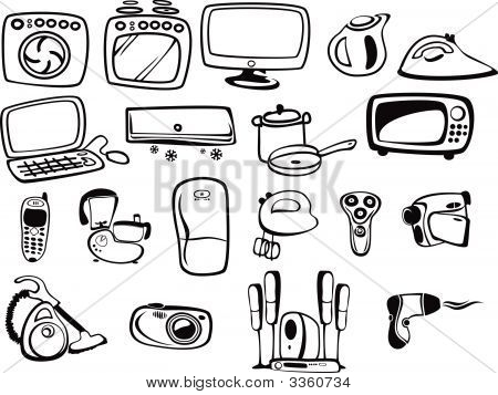 Symbols Of Home Appliances And Electronicses.Eps