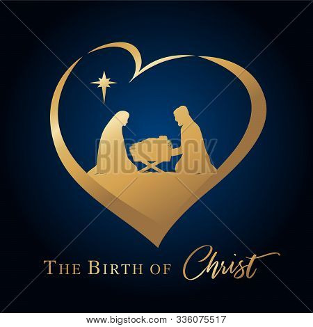 Christmas Scene Of Baby Jesus In The Manger With Mary And Joseph In Golden Silhouette In Heart. Chri
