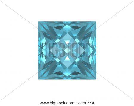 Blue Topaz Isolated On White Background