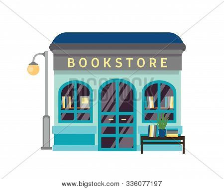 Bookstore Flat Vector Illustration. Bookshop Building Facade With Signboard Isolated On White Backgr