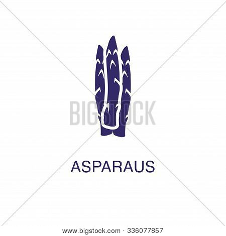 Asparagus Element In Flat Simple Style On White Background. Asparagus Icon, With Text Name Concept T