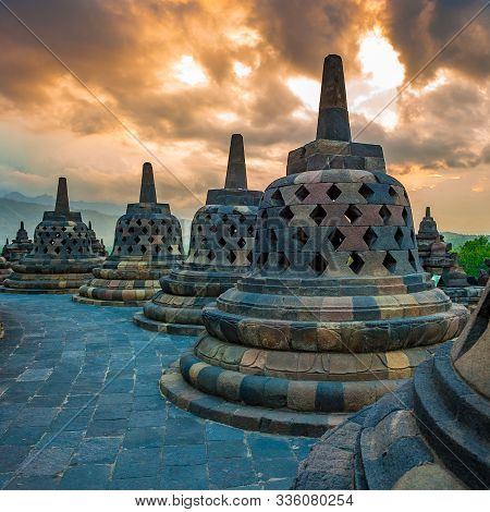 Borobudur Temple At Sunrise, Java Island, Indonesia