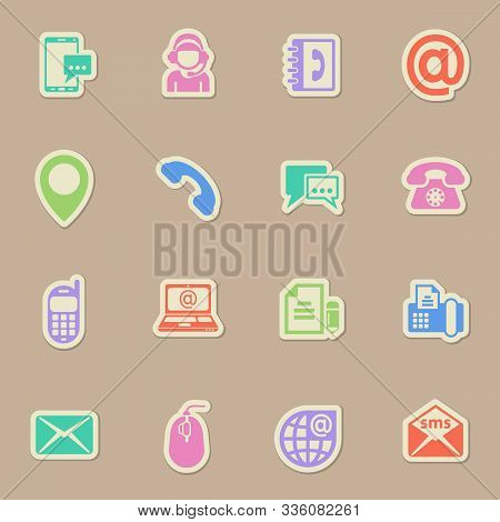 Contact Us Color Vector Icons On Paper Stickers