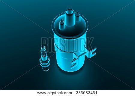 Igniter Coil, Ignition And Glowplug System. Igniter Coil On Dark Background. 3d Rendering