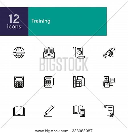 Training Line Icon Set. Calculator, Tutorial, Diploma, Certificate. Education Concept. Can Be Used F