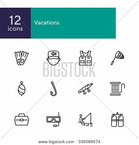 Vacations Line Icon Set. Set Of Line Icons On White Background. Fishing, Flippers, Aqualung. Holiday