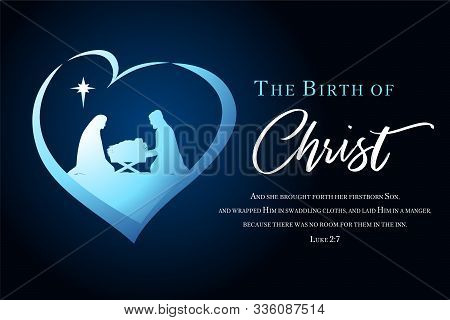 Christmas Scene Of Baby Jesus In The Manger With Mary And Joseph Silhouette In Heart. Christian Nati