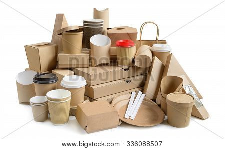 Fast Food Containers From Eco Friendly Paper And Cardboard Isolated On White Background. Food Packag