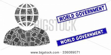 Mosaic Global Politician Icon And Rectangular World Government Rubber Prints. Flat Vector Global Pol