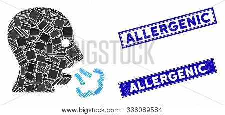 Mosaic Sneeze Pictogram And Rectangular Allergenic Rubber Prints. Flat Vector Sneeze Mosaic Pictogra