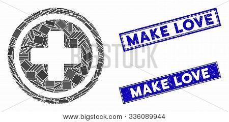 Mosaic Pharmacy Cross Icon And Rectangular Make Love Rubber Prints. Flat Vector Pharmacy Cross Mosai