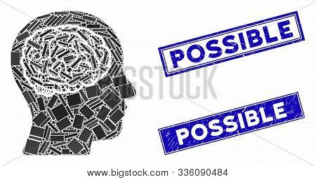 Mosaic Head Brain Pictogram And Rectangle Possible Seal Stamps. Flat Vector Head Brain Mosaic Pictog
