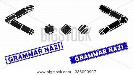 Mosaic Inline Code Pictogram And Rectangular Grammar Nazi Rubber Prints. Flat Vector Inline Code Mos