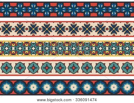 Set Of Five Illustrated Decorative Borders Made Of Abstract Elements In Beige, Blue, Turqoise, Yello