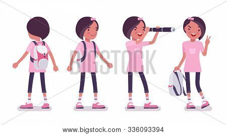 School Girl In Casual Wear Standing. Cute Small Lady In A Pink Tshirt With Rucksack, Active Young Ki