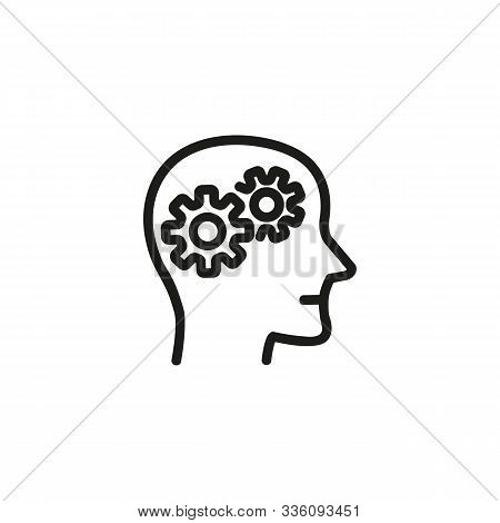 Psychiatry Thin Line Icon. Brainwork, Gears In Head, Mental Process Isolated Outline Sign. Psycholog