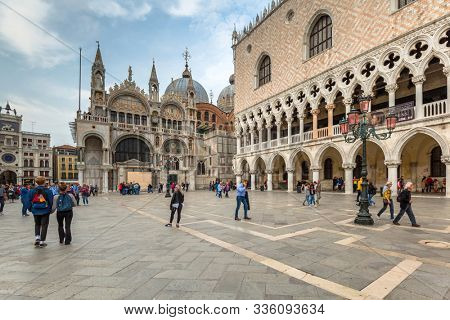 Venice, Italy - October 24, 2019: Amazing architecture of the Doges Palace on the San Marco square of Venice, Italy