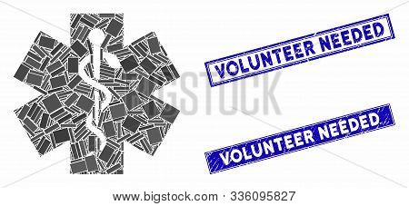 Mosaic Medical Icon And Rectangular Volunteer Needed Stamps. Flat Vector Medical Mosaic Icon Of Rand