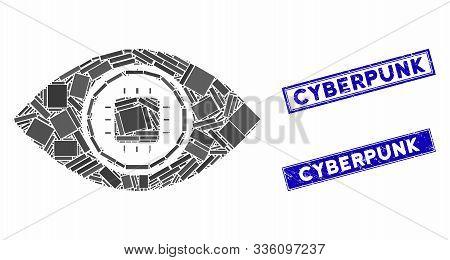 Mosaic Electronic Eye Lens Pictogram And Rectangle Cyberpunk Seals. Flat Vector Electronic Eye Lens
