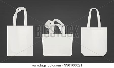 Tote Shopping Canvas Bags. Vector Mockup Of Realistic White Reusable Cotton Ecobags Different Shapes