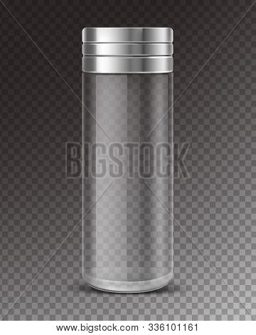 Empty Glass Salt Shaker With Metal Cap Isolated On Transparent Background. Vector Realistic Clear Bo