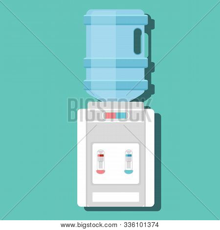 Flat Vector Icon For Water Cooler. Gray Water Cooler With Blue Full Bottle And Cup. Stock Vector Ill