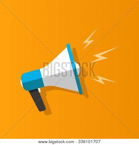 Loudspeaker On Orange Background. Flat Design. Vector Illustration