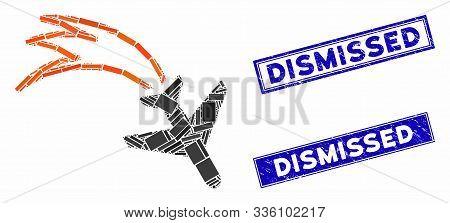 Mosaic Falling Airplane Icon And Rectangular Dismissed Watermarks. Flat Vector Falling Airplane Mosa
