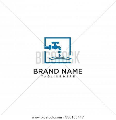 Water Pipe Faucet Plumbing Logo . Water Tap Logo . Plumbing Logo