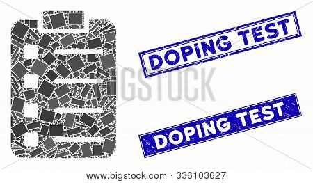 Mosaic List Pad Icon And Rectangular Doping Test Seal Stamps. Flat Vector List Pad Mosaic Icon Of Ra