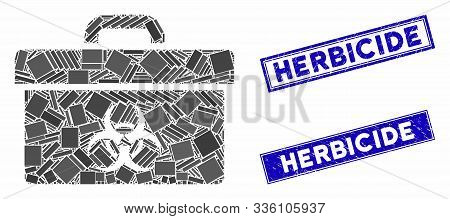 Mosaic Biohazard Toolbox Pictogram And Rectangle Herbicide Rubber Prints. Flat Vector Biohazard Tool