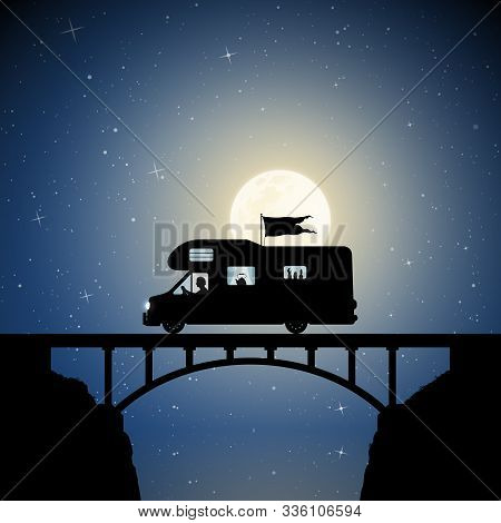 Retro Car On Bridge On Moonlit Night. Vector Illustration With Silhouette Of Man Traveling In Camper