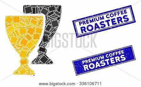 Mosaic Award Cups Pictogram And Rectangle Premium Coffee Roasters Seals. Flat Vector Award Cups Mosa