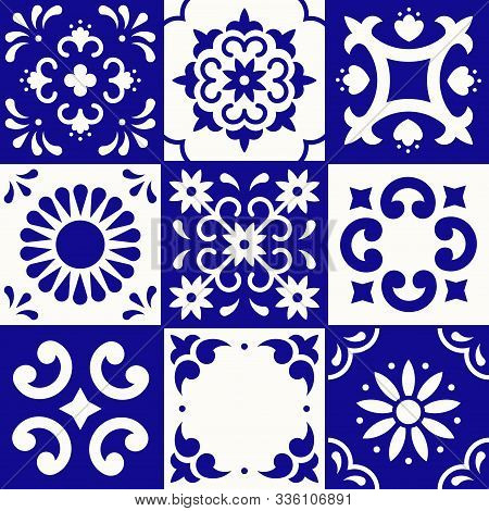 Mexican Talavera Pattern. Ceramic Tiles In Traditional Style From Puebla. Mexico Floral Mosaic In Bl