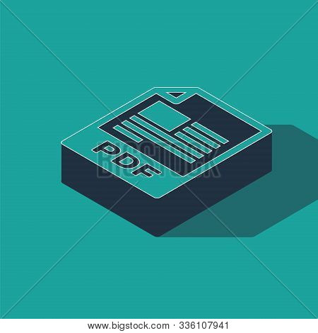 Isometric Pdf File Document. Download Pdf Button Icon Isolated On Green Background. Pdf File Symbol.