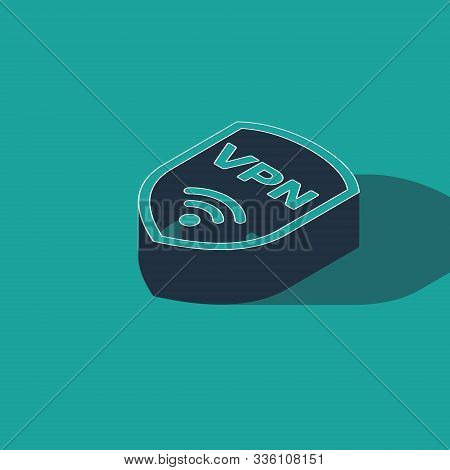 Isometric Shield With Vpn And Wifi Wireless Internet Network Symbol Icon Isolated On Green Backgroun