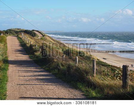 Dune, Walking Track And Beach Near Westkapelle, Zeeland, The Netherlands