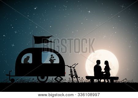 Lovers Near Camper Trailer On Moonlit Night. Vector Illustration With Silhouette Of Couple Sitting O