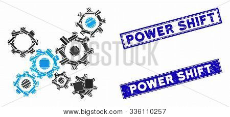 Mosaic Gears Mechanism Icon And Rectangle Power Shift Rubber Prints. Flat Vector Gears Mechanism Mos