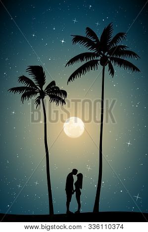 Lovers On Sand Under Palm Trees On Moonlit Night. Vector Illustration With Silhouette Of Couple On B