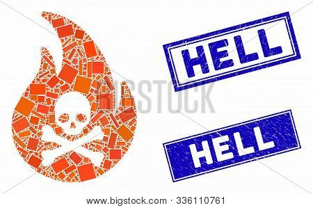 Mosaic Hell Fire Icon And Rectangle Hell Stamps. Flat Vector Hell Fire Mosaic Icon Of Scattered Rota