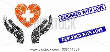 Mosaic Cardiology Care Hands Pictogram And Rectangular Designed With Love Seal Stamps. Flat Vector C
