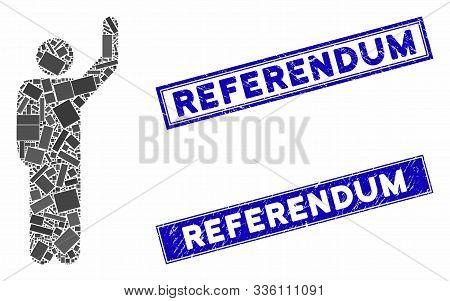 Mosaic Hitchhike Pose Icon And Rectangular Referendum Seal Stamps. Flat Vector Hitchhike Pose Mosaic