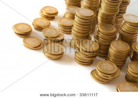 piles of golden coins