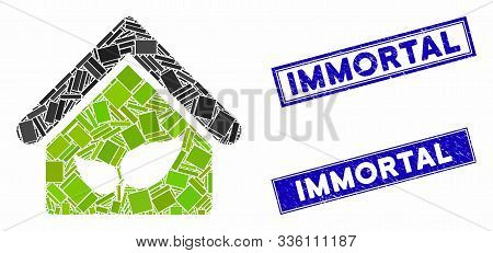 Mosaic Greenhouse Icon And Rectangle Immortal Seal Stamps. Flat Vector Greenhouse Mosaic Pictogram O