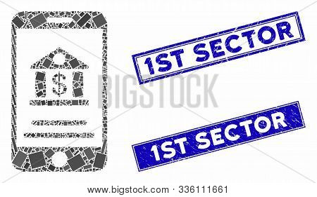 Mosaic Mobile Banking Icon And Rectangular 1st Sector Seal Stamps. Flat Vector Mobile Banking Mosaic