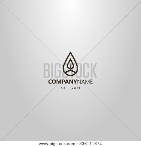 Black And White Simple Vector Line Art Logo Of A Tree Or Leaf In A Teardrop-shaped Frame