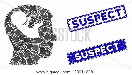 Mosaic Embryo Mind Head Icon And Rectangular Suspect Stamps. Flat Vector Embryo Mind Head Mosaic Ico